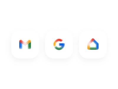 Glassy Icons - Google redesign concept experimental google design icon design glassmorphism google icons google home google gmail icons set icon icon set logotype glassy glass