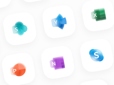 Glassy Icons 2 - Microsoft Office experimental redesign concept excel skype sharepoint yammer onenote microsoft powerpoint icon design iconography icons set icons microsoft office microsoft glassmorphism glassy glass