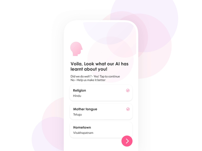 AI animation - Matchmaking app matrimony profile onboarding prototype microinteraction prediction status language hometown religion artificial intelligence matchmaking datingapp dating animation ai mobile app clean ui visual design