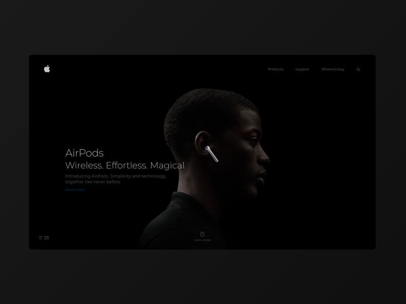 Apple Airpods website concept hero section visual design typogaphy airpods apple website uiux design