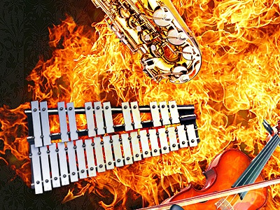 music explosion music instruments fire explosion