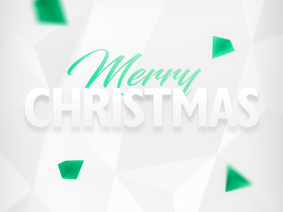 Merry christmass white polygonal merry christmass