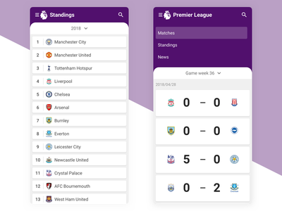 Soccer App Material Design Concept score soccer material android concept interface ux ui