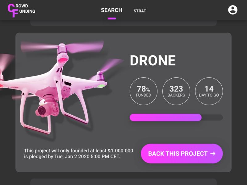 crowdfunding purple dailyui gradation design interfacecrowdfunding web userinterface app ux ui