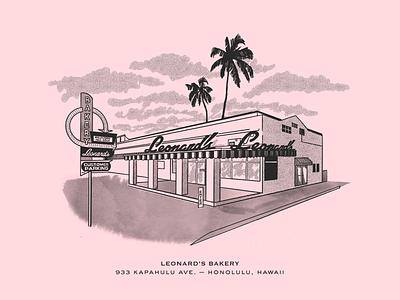 Leonard's Bakery, Hawaii island leonards bakery palm tropical perspective illustration vintage building pink hawaii