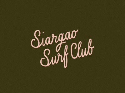 Siargao Surf Club waves beach surf philippines type pink hand lettering lettering logo tropical branding surf brand surf club brand