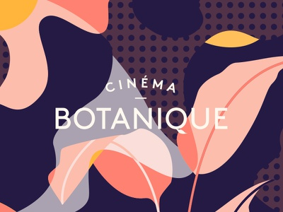 Cinéma Botanique navy pink leaf leaves plants botanical bold pattern branding cinema