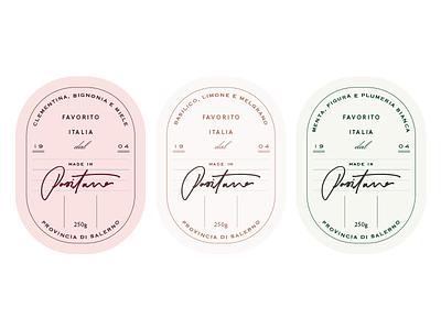 Candle labels branding packaging italian pastel vintage labels