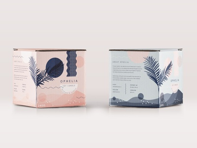 Ophelia candle blue pink box branding candle packaging