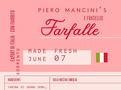 Italian farfalle packaging pasta nostalgic red pink pasta packaging italian packaging branding