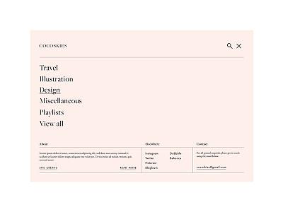 Cocoskies website blog web design ui ux pink website navigation burger menu