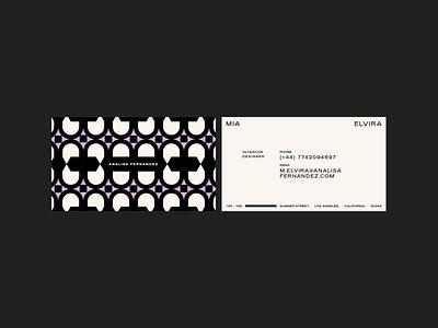 Analisa Fernández branding stationery layout design modern interior design pattern monochrome lilac branding businesscarddesign businesscard