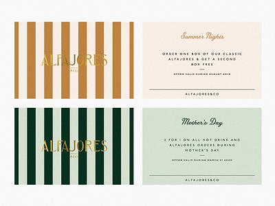 Alfajores & Co. branding stripes brand identity brand print design collateral giftcard bakery branding
