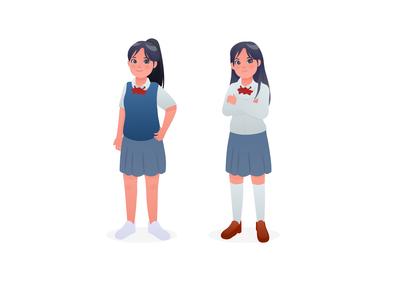 Girl Student Character Design