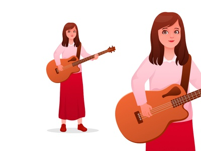 Girl Playing Acoustic Bass