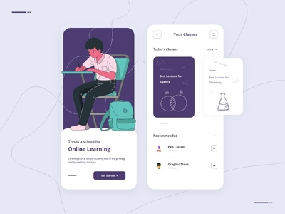 Online Learning App online course prototype animation learning app ui mobile app ui design ux design ui design learning app study app online learning