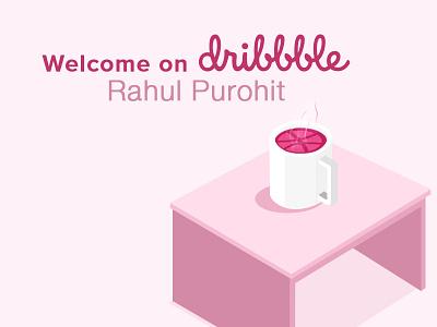 Welcome on Dribbble visual designer ui ux logo graphic  design android animation 2d art design illustration welcome shot dribble invitation dribble invite dribble