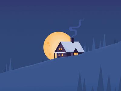 Cabin in the snow moon supermoon house cozy warm cold winter snow cabin colors vector illustraion art design affinitydesigner