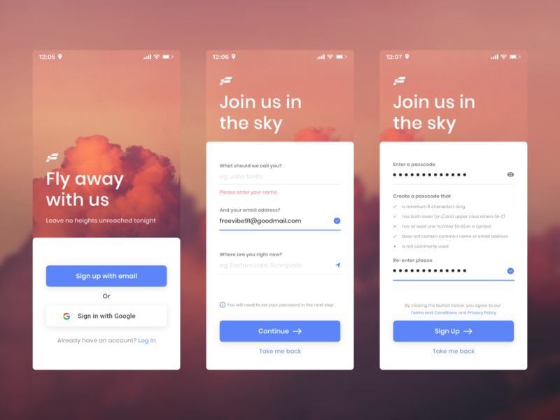DailyUi #001 Sign Up ux form signup sign up registration mobile android ios material airline flight cloud daily ui dailyuichallenge dailyui 001 dailyui adobe xd adobexd colors ui