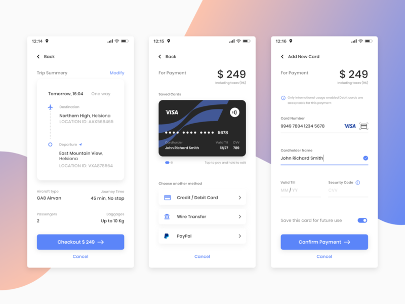 DailyUi #002 Credit Card Checkout ux checkout booking airline flight dailyuichallenge dailyui 002 daily ui dailyui adobe xd adobexd material ios android payment debit credit card app mobile