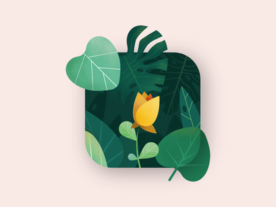 Nature in an icon affinity designer affinitydesigner illustration app icon nature color colour leaf leaves forest flower tech technology abstract folliage green bud petal