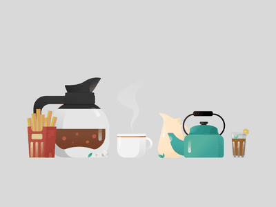 Coffee Break ☕ afternoon work from home mint coffee cup tea cup tea french fries high tea snacks break coffee affinity designer vector illustration affinitydesigner