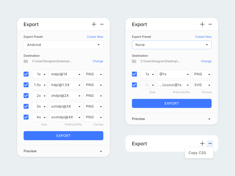 Designs Export Panel interactions coffee material presets panel component components tool icons files export dialogs modal ux ui design adobe xd adobexd