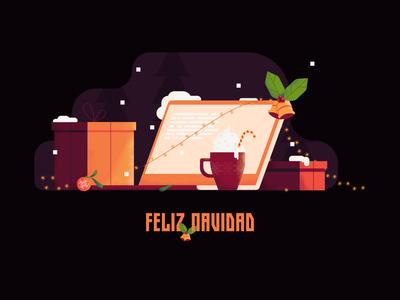 Feliz Navidad Merry Christmas merry christmas presents gifts cane candy lights rice laptop holidays happy christmas navidad feliz merry colors vector illustration design illustraion affinitydesigner