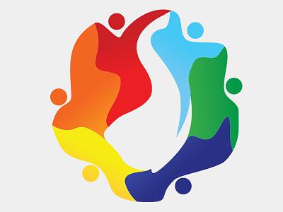 Community Logo Icon United Colors Red Orange Yellow Blue Light G logo design ideas elephant logo community logo inspiration creative logo design o logo circle logo logo with many colors community logo