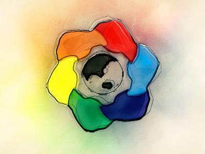 "LOGO OMG INDONESIA ""Retouch"" hand logo globo logo circle logo logo design creative logo logo with many colors community logo ideas community logo logo retouch"