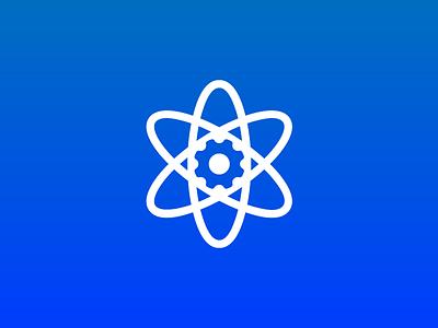 atom + gear design logo atomic atom mechanic gear cogwheel