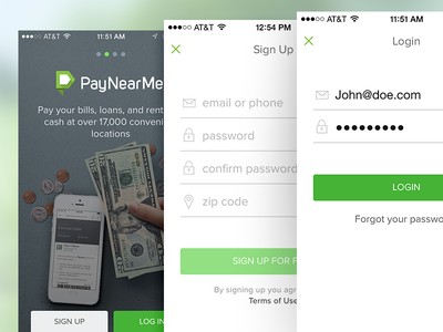 PayNearMe login/register screens intro signup login iphone mobile design ux ui app bill pay