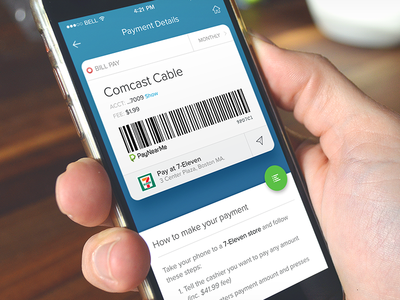 Payment details screen barcode details payment cash ux ui app ios