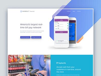 Handle Financial Home fin tech financial web homepage ux ui