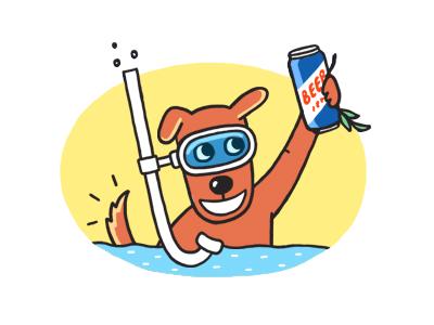 Vacation time! beer dog funny illustration