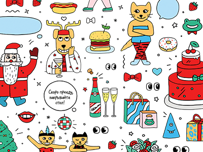 Christmas stickers illustration funny year new stickers