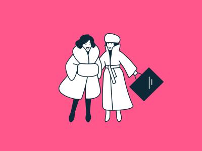 Lady in fur coats shopping fur women illlustration