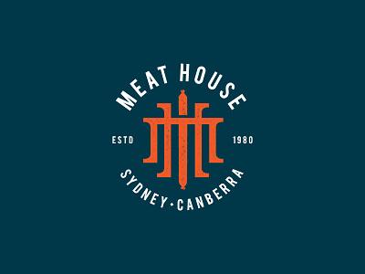 Meat House logo monogram branding meat butchery vintage illustration logotype logo