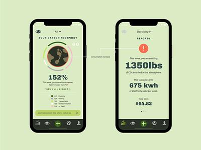earthwatch (ux/ui design) ux  ui carbon footprint ux design digital product design digital app ux ui app design design