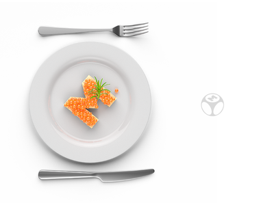 EveryMatrix - Key Visual branding c4d knife fork plate caviar