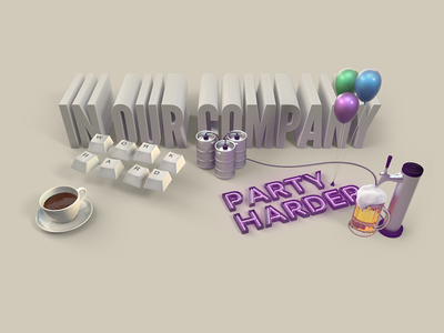 In our company party c4d hard work thumblr blog