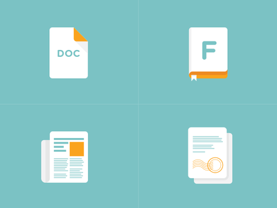 Simple icons signature newsletter fontbook documents