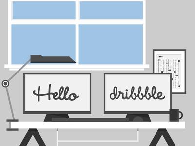 Thanks Dribbble thanks shot hello dribbble desk illustration black and white blue calender wendy helvetica