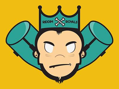 Riddim Royals Logo chimp ape monkey logo illustration crone conga