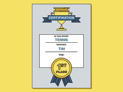 Sport Certification helvetica vector fun a4 school tennis sport cup lines illustration flat design minimal