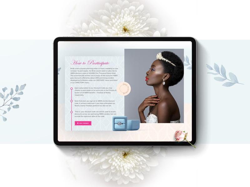 Which Bride is Next? product design lagos bride reality show reality tv landing page nativebrands creative wedding website design dribbble uiux ux nigerian website nigeria design ui