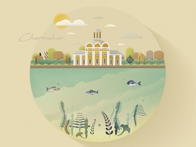 My native city arhitecture. city chernihiv flat illustrations digitalart