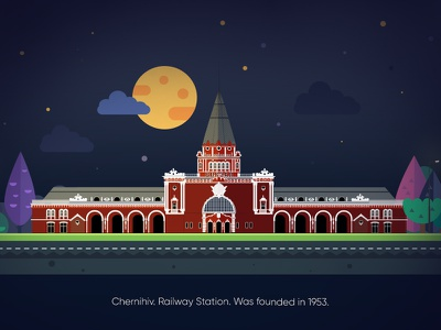 Railway station arhitecture. city night chernihiv flat illustrations digitalart