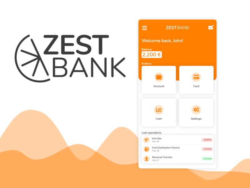 Zest Bank - Mobile App Concept mobile app bank bank app dashboard ui adobexd mobile ui mobile