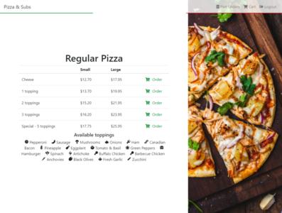 Italian Restaurant Order - Regular Pizza section food order restaurant order website pizza italian food italian restaurant